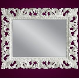 Lustro kryształowe, barokowe w białej ramie 80x100 PU-58