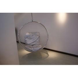 Fotel Bańka transparent/srebrna poduszka