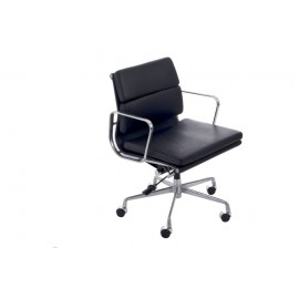 Fotel biurowy CH2171T czarna skóra chrom