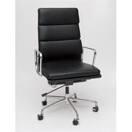 Fotel biurowy CH2191T czarna skóra chrom