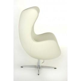 Fotel Jajo biała skóra 01