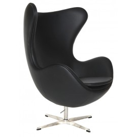 Fotel Jajo czarna skóra 06