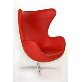 Fotel Jajo czerwona skóra 65