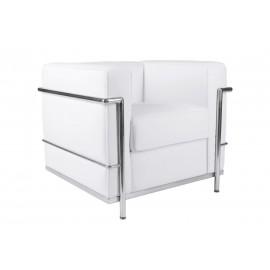 Fotel Kubik biała skóra