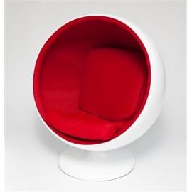 Fotel Kula biało/czerwony