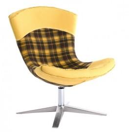Fotel Swing krata żółty