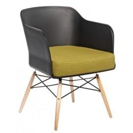 Krzesło Viva czarny z oliwkową poduszką