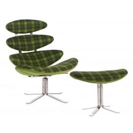 Fotel z podnóżkiem Spine zielony tapice- rowany
