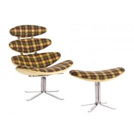 Fotel z podnóżkiem Spine żółty tapicero- wany