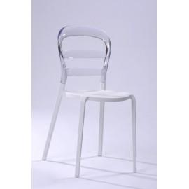 Krzesło Bubu biale siedzisko/transp