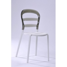 Krzesło Bubu białe siedzisko/dymione op.