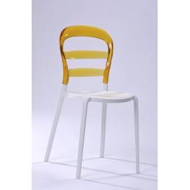 Krzesło Bubu białe siedzisko/żółte oparc