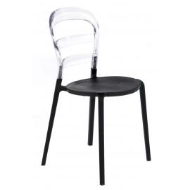 Krzesło Bubu czarne siedzisko/transp