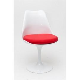 Krzesło Tul białe/czerwona poduszka