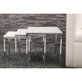 INVICTA zestaw stolików NEW ELEMENTS - białe podstawa chromowana