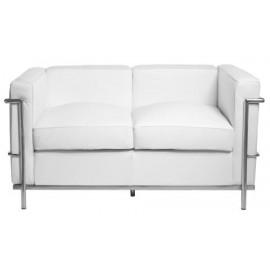 Sofa 2-osobowa Kubik biała skóra TP
