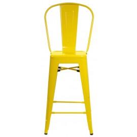 Stołek barowy Paris Back żółty inspirowany Tolix