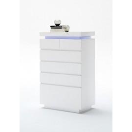 Komoda z szufladami biała LED Oceana słupek