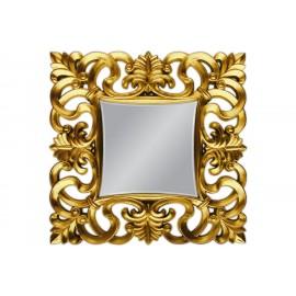 Eleganckie lustro 76x76 w złotej oprawie