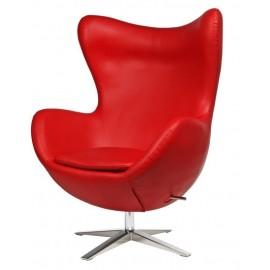 Fotel Jajo szeroki skóra ekologiczna 513 czerwony