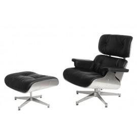 Fotel Vip z podnóżkiem czarny/aluminium