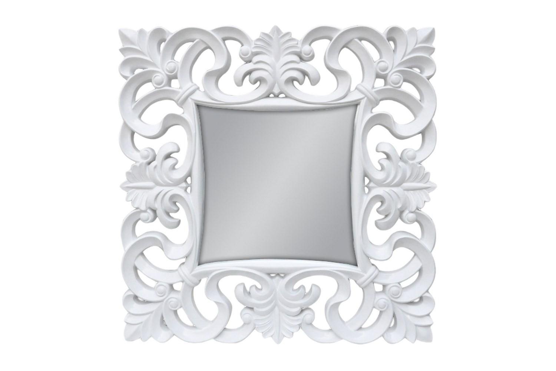 Lustro Ozdobne Biała Rama 100x100cm
