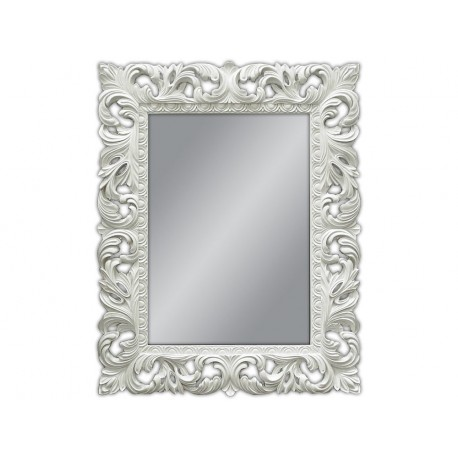 Lustro kryształowe, barokowe w białej ramie 80x100