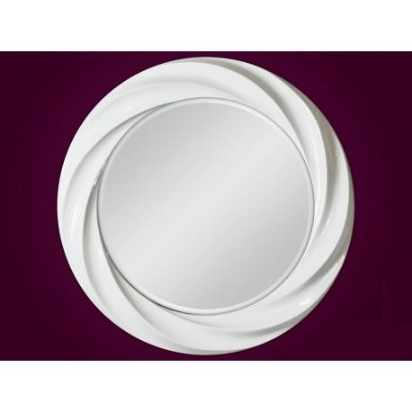 Ozdobne okrągłe lustro białe 80x80cm
