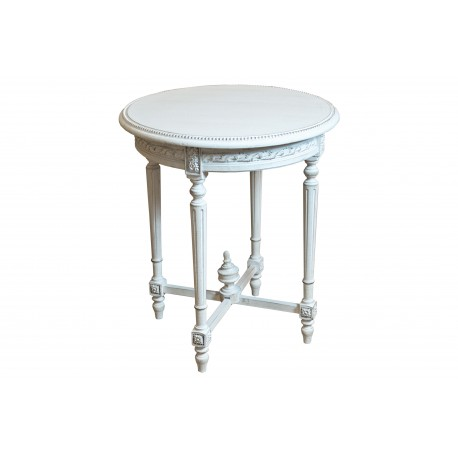 Elegancki stolik okrągły biały przecierany M-95 65x65x75