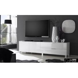 Elegancka szafka RTV SOLA-model I w kolorze białym