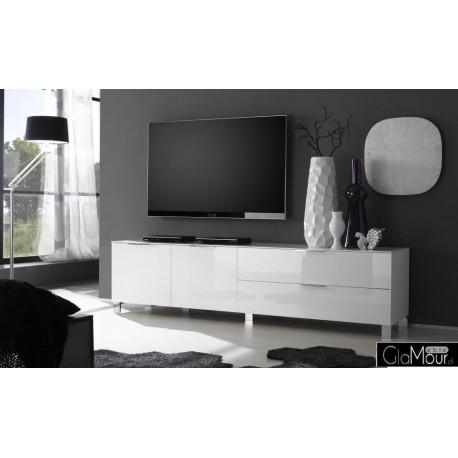 Elegancka szafka RTV SOLO-model I w kolorze białym