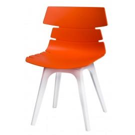 Krzesło Techno pomarańczowe podstawa biała