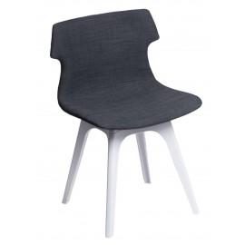 Krzesło Techno tapicerowane grafitowe podstawa biała