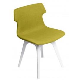 Krzesło Techno tapicerowane oliwkowe podstawa biała