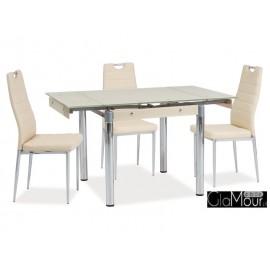 Elegancki stół GD-083 ciemny beż/chrom