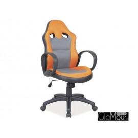 Fotel obrotowy Q-054 pomarańczowy/szary