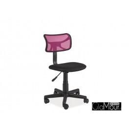 Fotel obrotowy Q-014 różowy-czarny