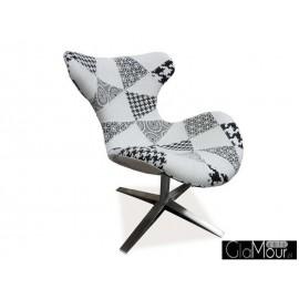 Fotel Elvis B patchwork czarno-biały / buk