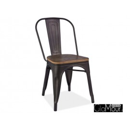 Krzesło Loft orzech/biały