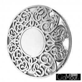 Altea - okrągłe lustro dekoracyjne w ażurowej, lustrzanej ramie