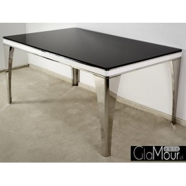 Nowoczesny stół blat z czarnego hartowanego szkła