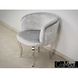 Elegancki fotel ze stali nierdzewnej-tkanina srebrna