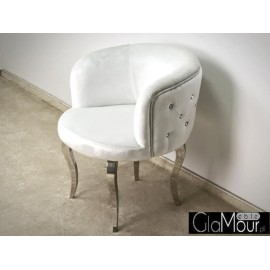 Stylowy fotel ze stali nierdzewnej-tkanina biała