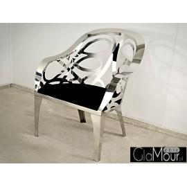 Elegancki fotel ze stali nierdzewnej-tkanina czarna FC28