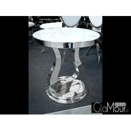 Nowoczesny stolik do salonu-blat białe szkło D003