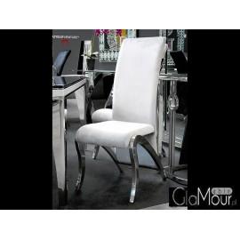 Eleganckie krzesło do salonu tkanina srebrna