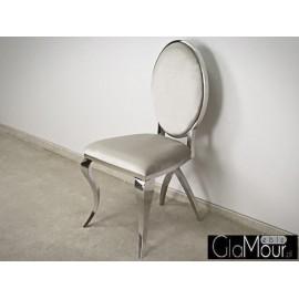 Eleganckie krzesło do salonu tkanina bezowa