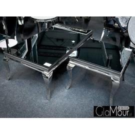 Elegancki stolik do salonu blat z czarnego hartowanego szkła C306