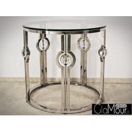 Stolik kawowy do salonu w kolorze srebrnym
