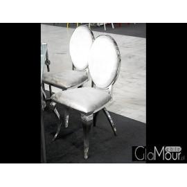 Eleganckie krzesło do salonu tkanina jasny popiel